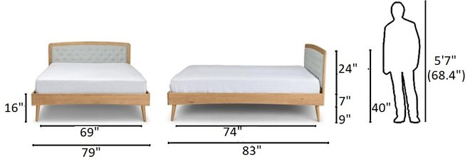 Article Culla Upholstered King Bed Mist Gray And Oak