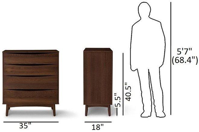 Article Culla 4 Drawer Dresser Walnut