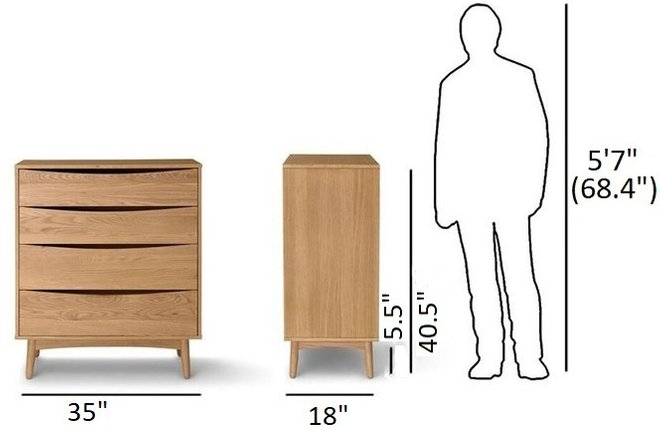 Article Culla 4 Drawer Dresser Oak