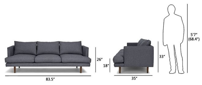 Burrard Mid-Century Modern Sofa Blue