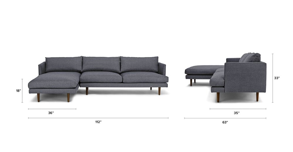 Astonishing Burrard Left Sectional Sofa Stone Blue In Ny Nj Gamerscity Chair Design For Home Gamerscityorg