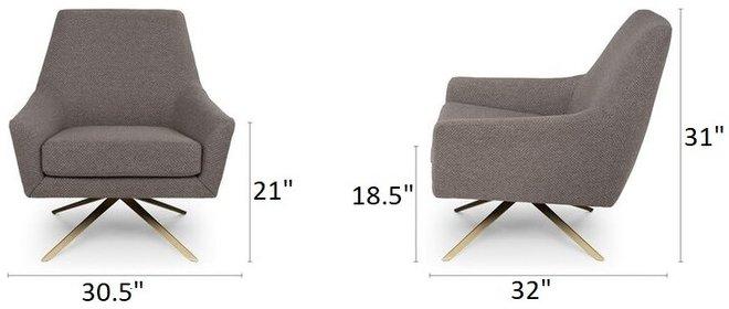 Article Spin Mid-Century Modern Swivel Lounge Chair Desert Gray