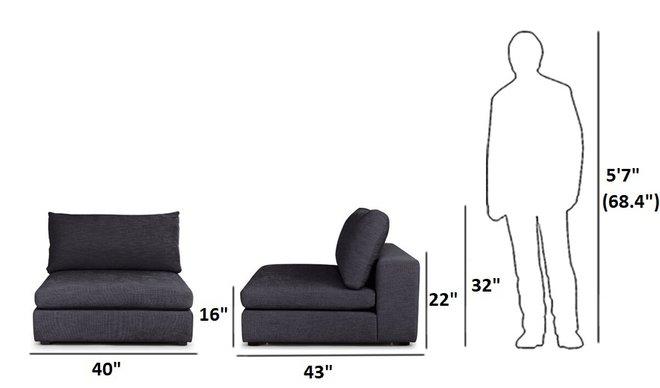 Article Gaba Modular Lounge Chair Petrel Gray