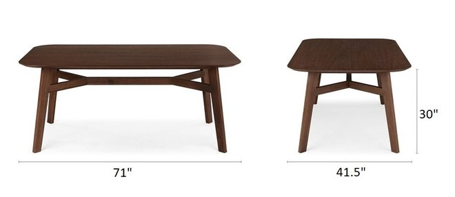 Article Ventu Dining Table For 6 Matte Walnut