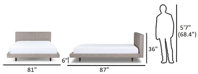 Article Tessu King Bed Glaze Gray And Walnut
