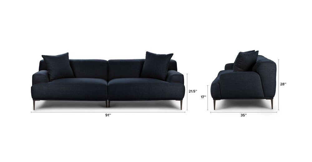 Abisko Modern Contemporary Sofa Blue in DC : Sofas   CasaOne