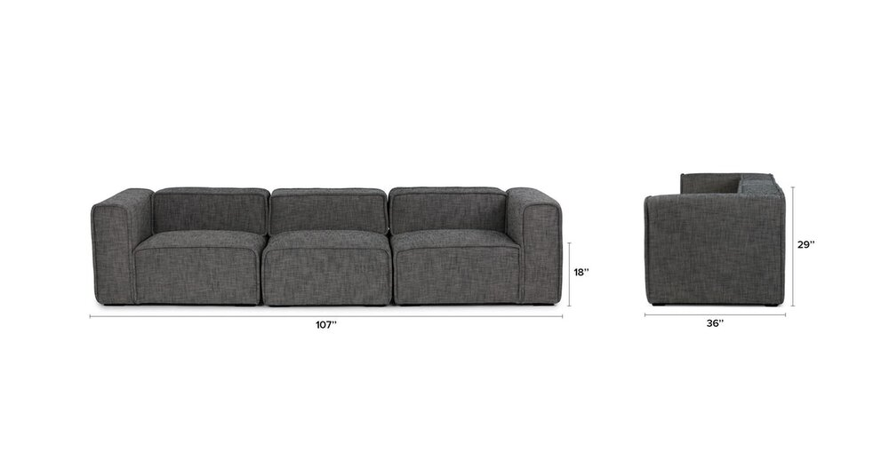 Quadra Modern Modular Sofa Carbon Gray in DC : Sofas | CasaOne