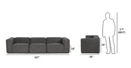 Quadra Modern Modular Sofa Carbon Gray