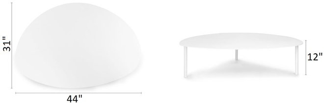 "Article Nebu 44"" Oval Coffee Table White"