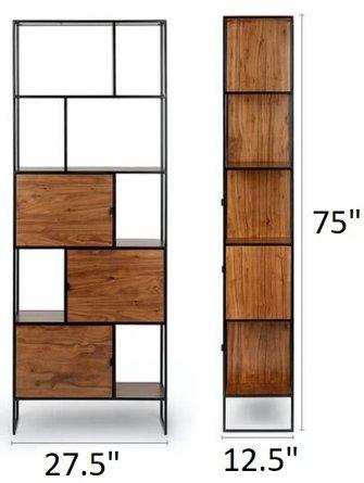 """Article Rictu 75"""" Bookcase Walnut"""