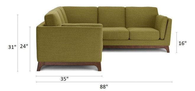 Article Ceni Corner Sectional Seagrass Green
