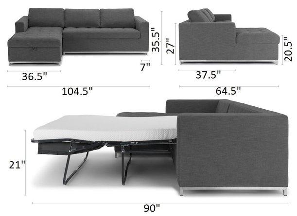 Article Soma Mid-Century Modern Left Sectional Sleeper Sofa Twilight Gray