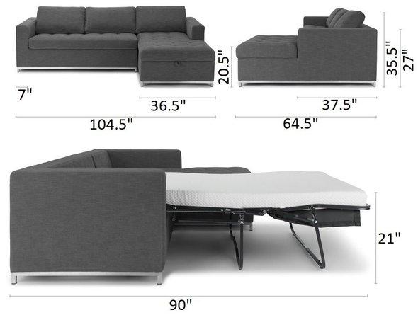 Article Soma Mid-Century Modern Right Sectional Sleeper Sofa Twilight Gray