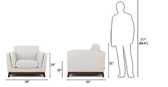 Ceni Mid-Century Modern Lounge Chair Fresh White