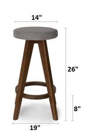 Circo Mid Century Modern Counter Stool Thunder Gray