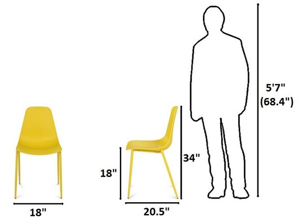 Article Svelti Contemporary Dining Chair Yellow (Set of 2)
