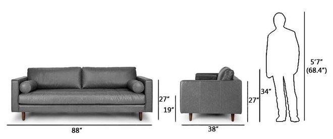Sven Mid-Century Modern Tufted Leather Sofa Oxford Gray