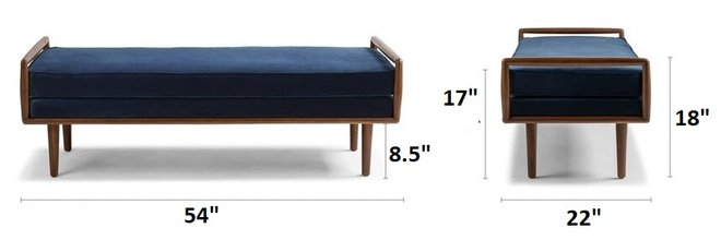 Ansa Mid-Century Modern Bench Cascadia Blue
