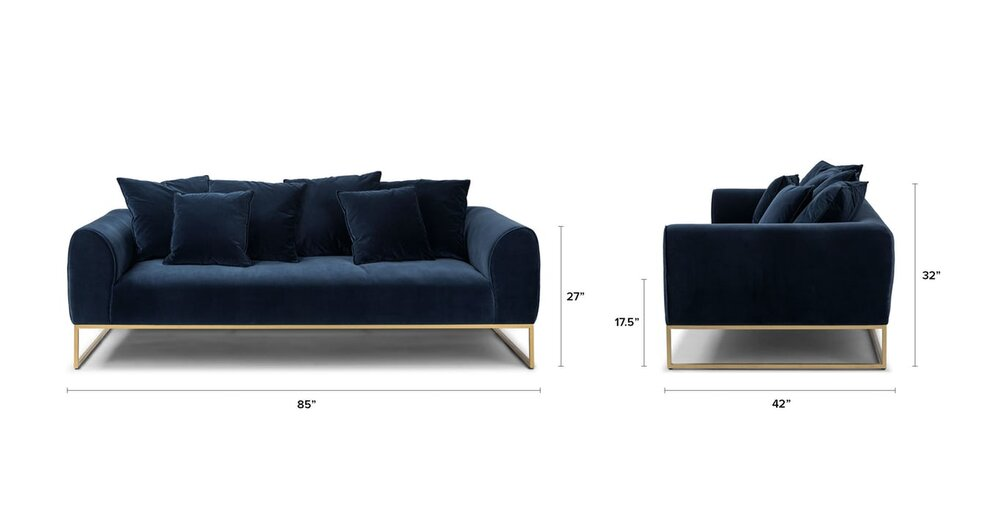 Cool Kits Mid Century Modern Sofa Cascadia Blue And Brass In La Gamerscity Chair Design For Home Gamerscityorg