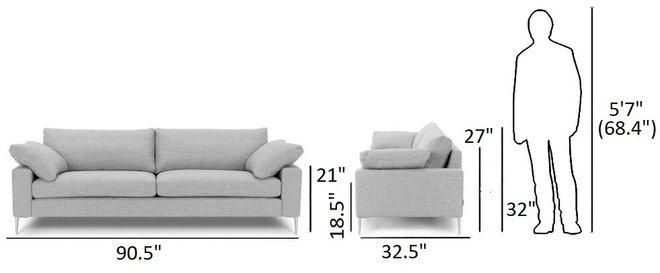 Nova Modern Contemporary Sofa Winter Gray