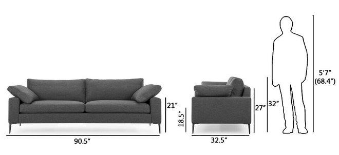 Article Nova Modern Contemporary Sofa Bard Gray