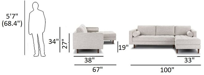 Article Sven Right Sectional Sofa Birch Ivory