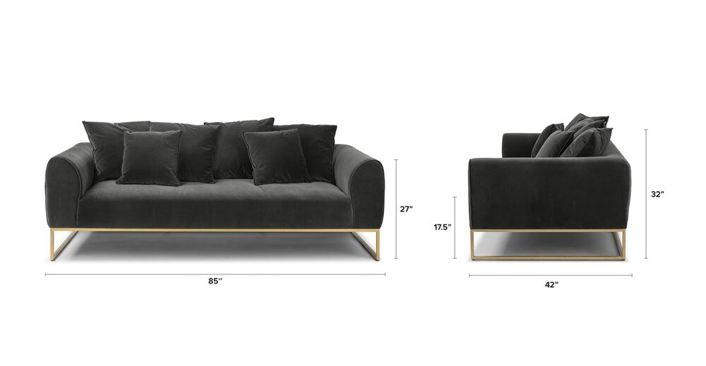 Kits Mid Century Modern Sofa Shadow Gray And Brass In Ny Sofas