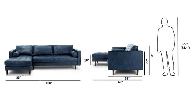 Article Sven Left Sectional Sofa Oxford Blue