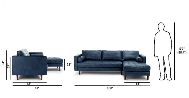 Article Sven Right Sectional Sofa Oxford Blue