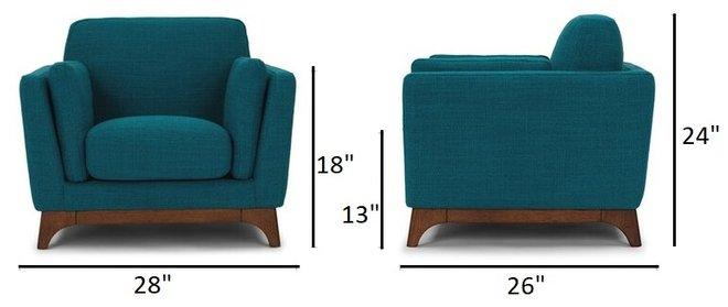 Article Ceni Mid-Century Modern Armchair Chair Blue