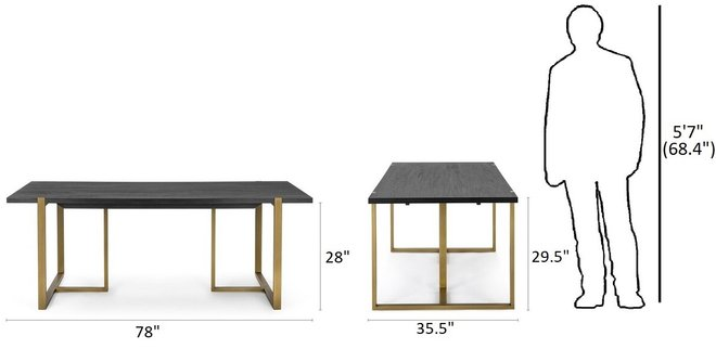 """Article Oscuro 78"""" Dining Table Black"""
