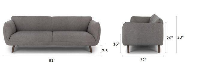 Article Haro Mid-Century Modern Fabric Sofa Storm Gray