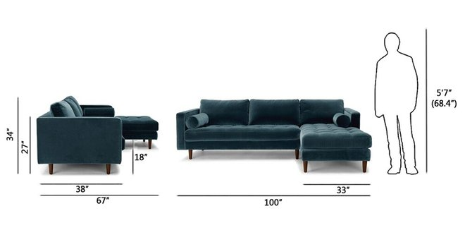 Article Sven Right Sectional Sofa Pacific Blue