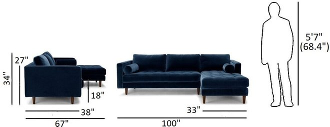 Article Sven Right Sectional Sofa Cascadia Blue