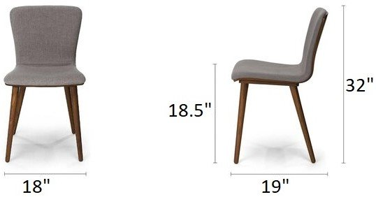 Article Sede Mid Century Modern Dining Chair Thunder Gray (Set Of 2)