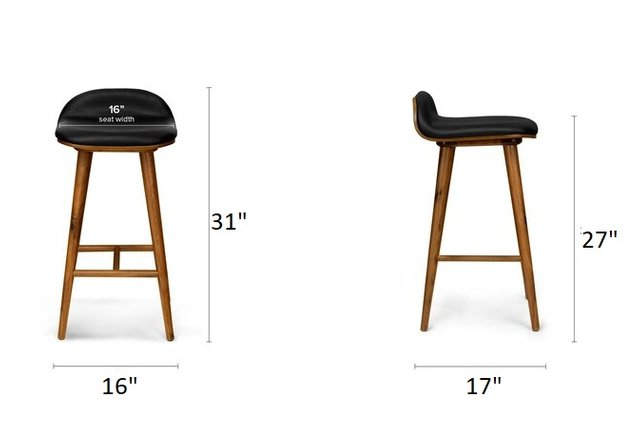 Article Sede Mid Century Modern Counter Stool Black