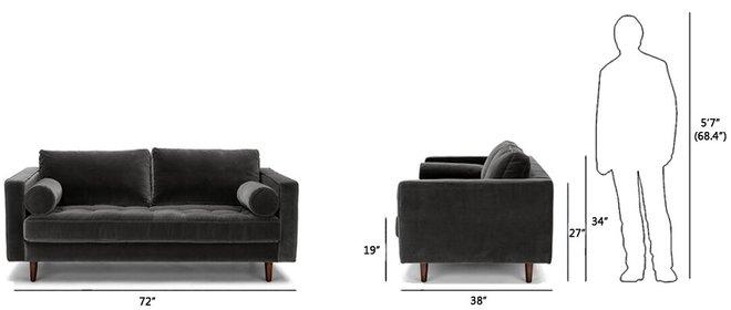 "Sven Mid-Century Modern Sofa  72"" Shadow Gray"