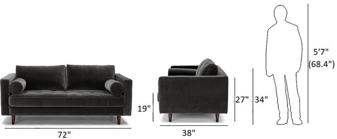 "Article Sven Mid-Century Modern Sofa  72"" Shadow Gray"