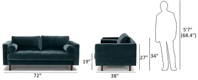 "Sven Mid-Century Modern 72"" Sofa Pacific Blue"
