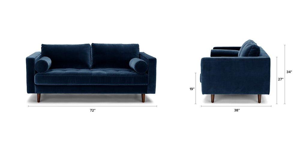 Swell Sven Mid Century Modern 72 Sofa Cascadia Blue In La Sofas Ibusinesslaw Wood Chair Design Ideas Ibusinesslaworg