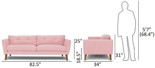 Article Emil Mid-Century Modern Sofa Quartz Rose