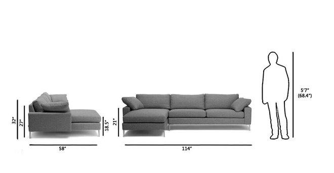 Article Nova Left Sectional Sofa Gravel Gray