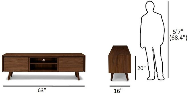 "Article Seno 63"" TV/Media Unit Walnut"