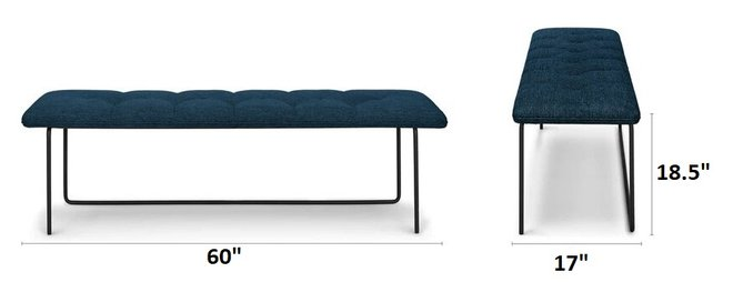 Level Contemporary Bench Twilight Blue