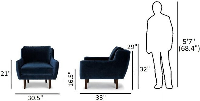 Article Matrix Modern Contemporary Velvet Chair Cascadia Blue