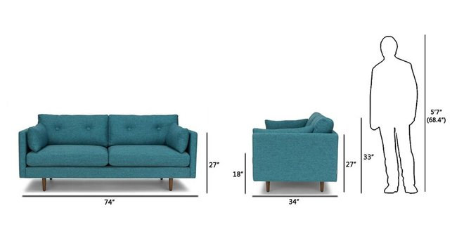 "Article Anton Mid-Century Modern 74"" Sofa Arizona Turquoise"