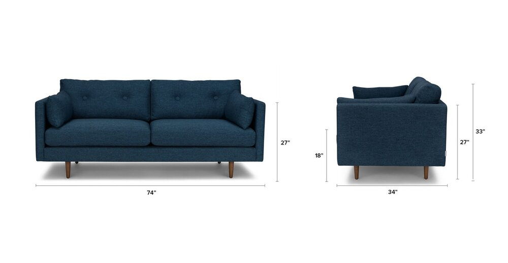 Anton Mid-Century Modern Apartment Button Tufted Sofa Blue in NY ...