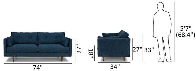 "Article Anton Mid-Century Modern 74"" Sofa Twilight Blue"