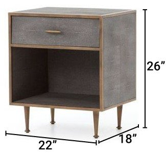 Four Hands Bedside Table Gray Shagreen