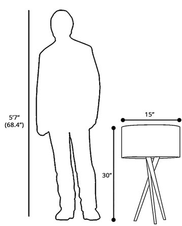 "Hayle 25"" Tripod Table Lamp Walnut"